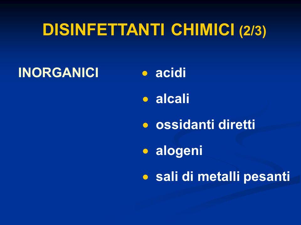 DISINFETTANTI CHIMICI (2/3) INORGANICI acidi alcali ossidanti diretti alogeni sali di metalli pesanti