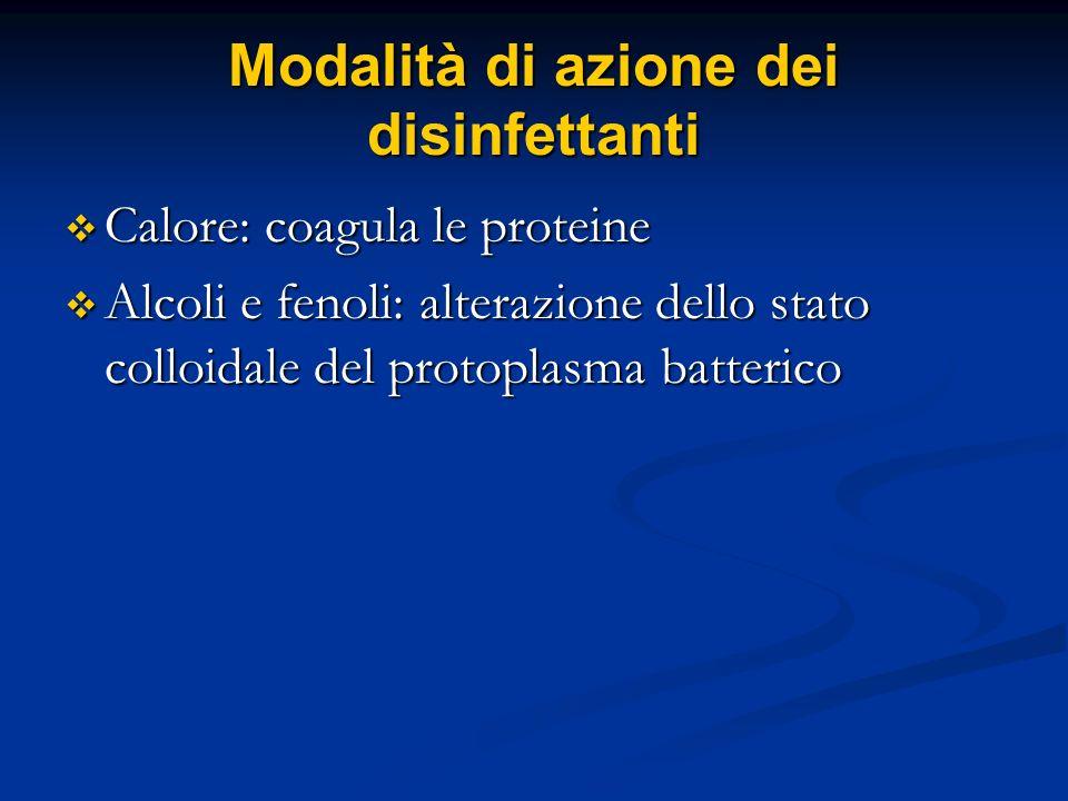 Modalità di azione dei disinfettanti Calore: coagula le proteine Calore: coagula le proteine Alcoli e fenoli: alterazione dello stato colloidale del p