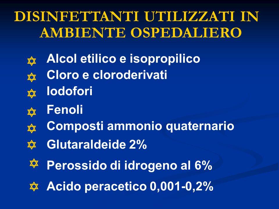 DISINFETTANTI UTILIZZATI IN AMBIENTE OSPEDALIERO Alcol etilico e isopropilico Cloro e cloroderivati Iodofori Fenoli Composti ammonio quaternario Gluta
