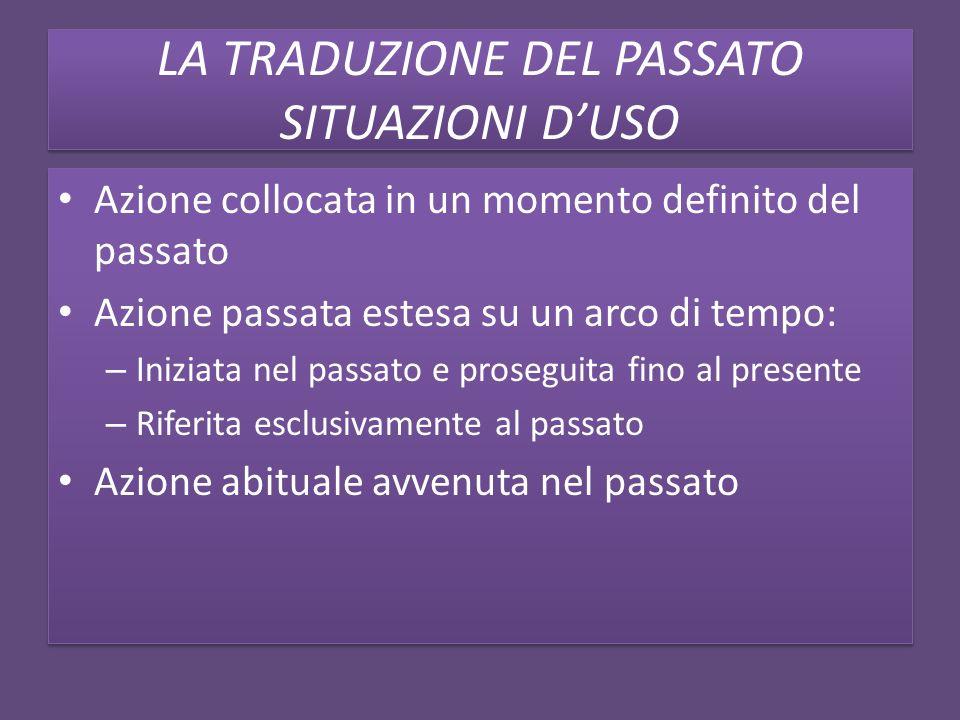DIFFERENZA TRA IMPERFETTO E PASSATO REMOTO Differenza grammaticalizzata in italiano: i due tempi sono nettamente distinti, e potranno di volta in volta corrispondere alla forma del simple past.