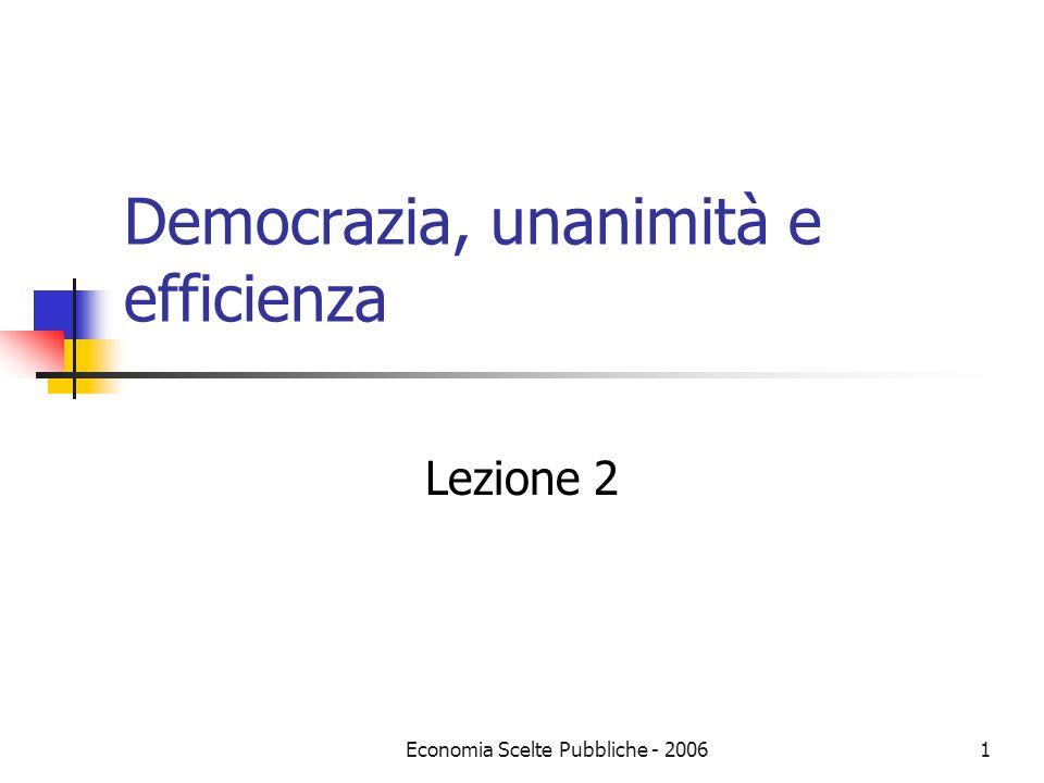 Economia Scelte Pubbliche - 20061 Democrazia, unanimità e efficienza Lezione 2