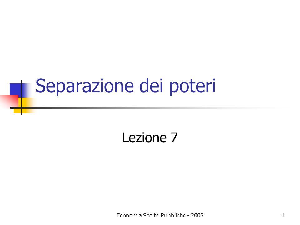 Economia Scelte Pubbliche - 20061 Separazione dei poteri Lezione 7