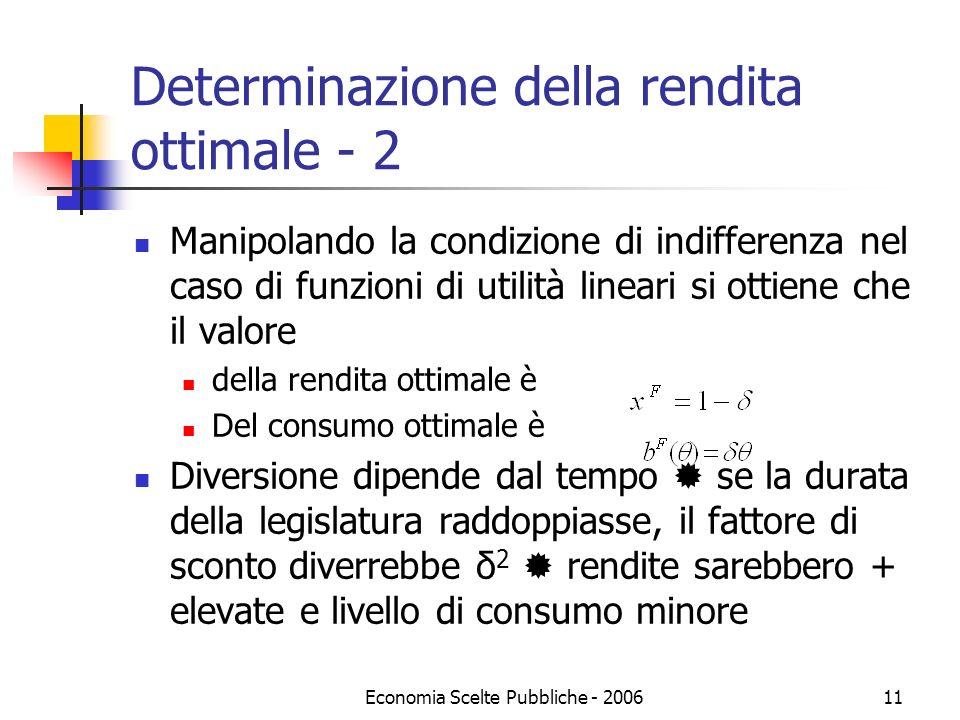 Economia Scelte Pubbliche - 200611 Determinazione della rendita ottimale - 2 Manipolando la condizione di indifferenza nel caso di funzioni di utilità