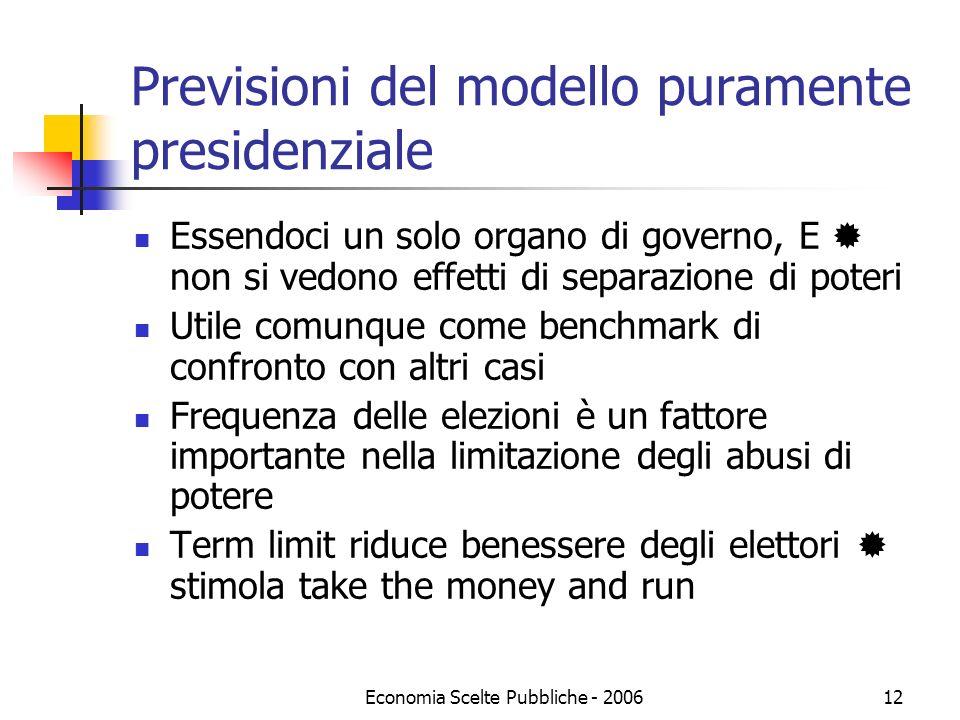 Economia Scelte Pubbliche - 200612 Previsioni del modello puramente presidenziale Essendoci un solo organo di governo, E non si vedono effetti di sepa