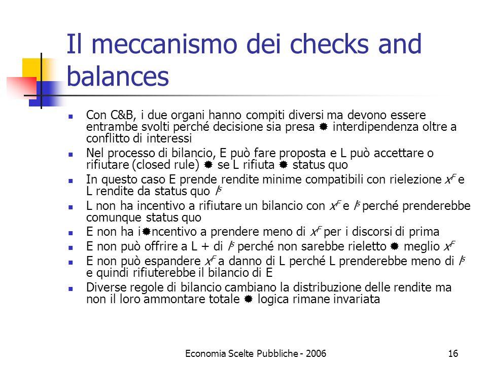 Economia Scelte Pubbliche - 200616 Il meccanismo dei checks and balances Con C&B, i due organi hanno compiti diversi ma devono essere entrambe svolti