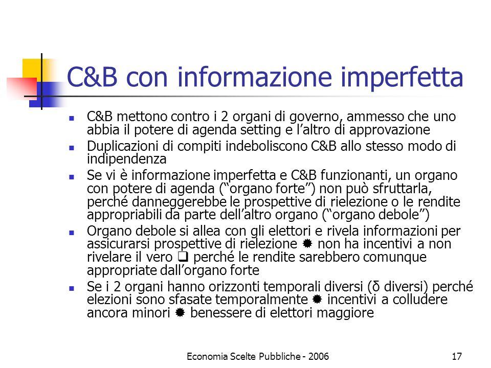 Economia Scelte Pubbliche - 200617 C&B con informazione imperfetta C&B mettono contro i 2 organi di governo, ammesso che uno abbia il potere di agenda