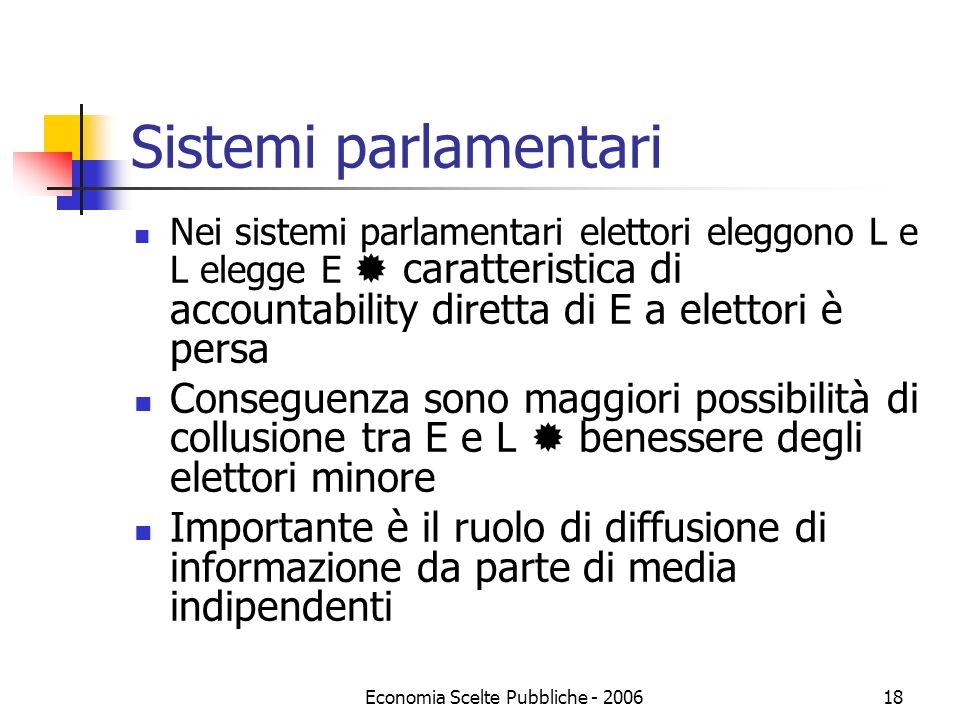 Economia Scelte Pubbliche - 200618 Sistemi parlamentari Nei sistemi parlamentari elettori eleggono L e L elegge E caratteristica di accountability dir