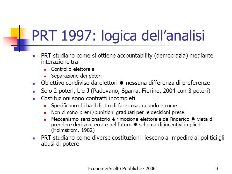 Economia Scelte Pubbliche - 20063 PRT 1997: logica dellanalisi PRT studiano come si ottiene accountability (democrazia) mediante interazione tra Contr