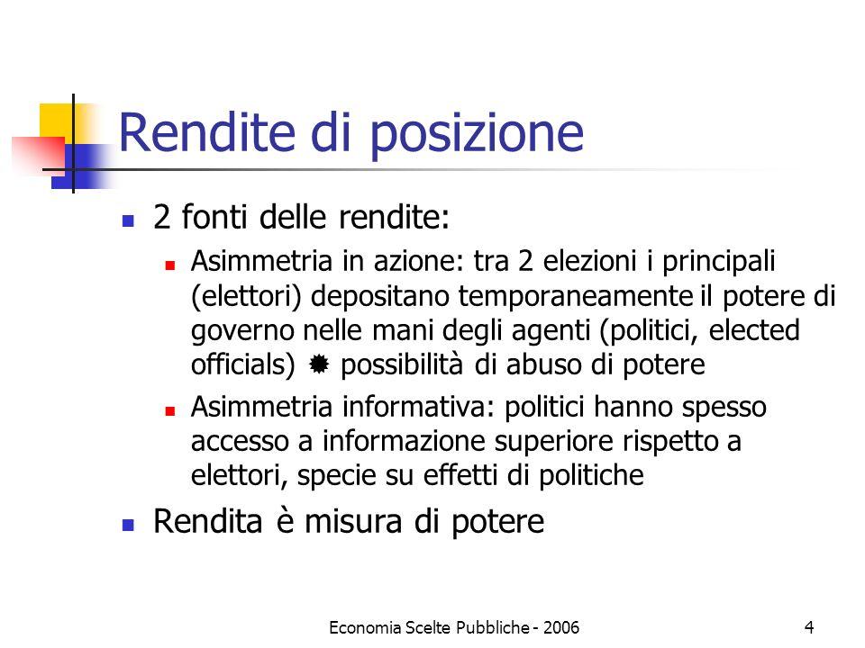 Economia Scelte Pubbliche - 20064 Rendite di posizione 2 fonti delle rendite: Asimmetria in azione: tra 2 elezioni i principali (elettori) depositano