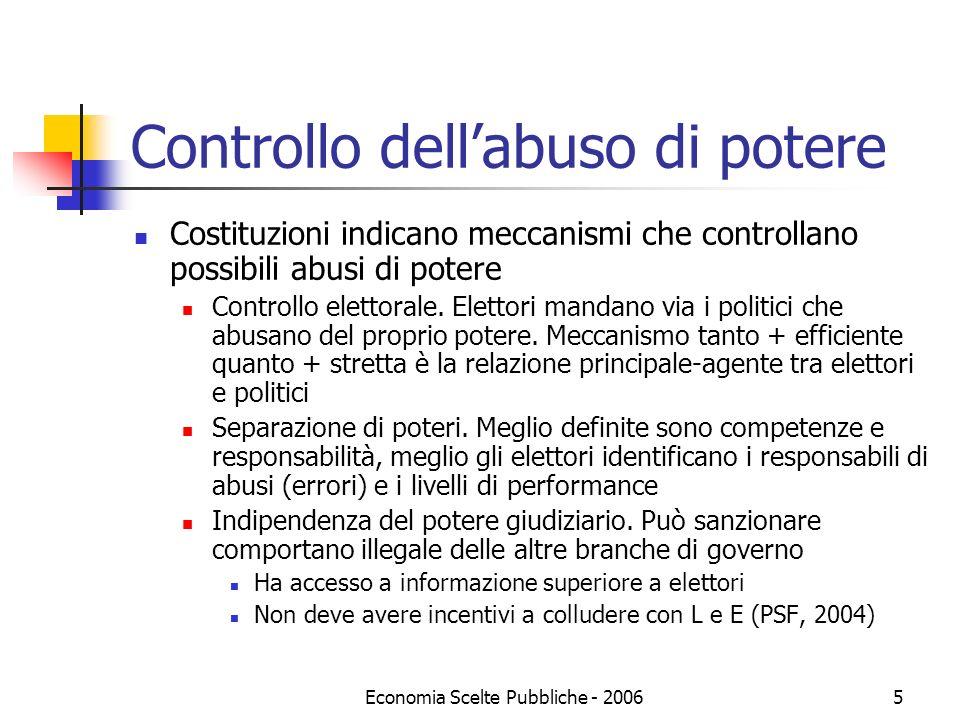 Economia Scelte Pubbliche - 20065 Controllo dellabuso di potere Costituzioni indicano meccanismi che controllano possibili abusi di potere Controllo elettorale.