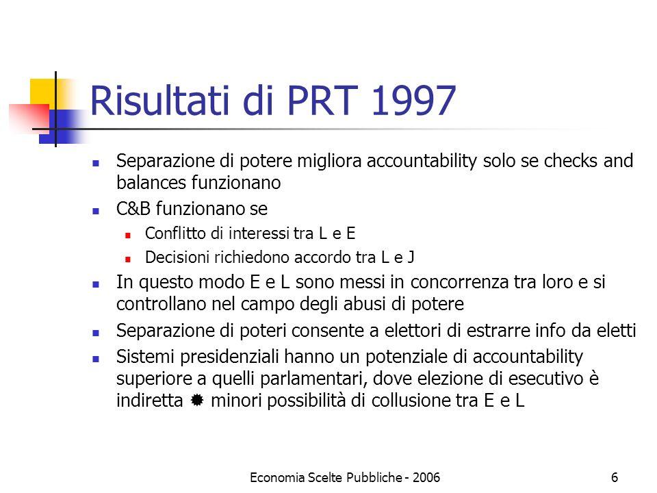 Economia Scelte Pubbliche - 20066 Risultati di PRT 1997 Separazione di potere migliora accountability solo se checks and balances funzionano C&B funzi