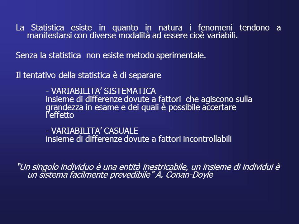 La Statistica esiste in quanto in natura i fenomeni tendono a manifestarsi con diverse modalità ad essere cioè variabili. Senza la statistica non esis