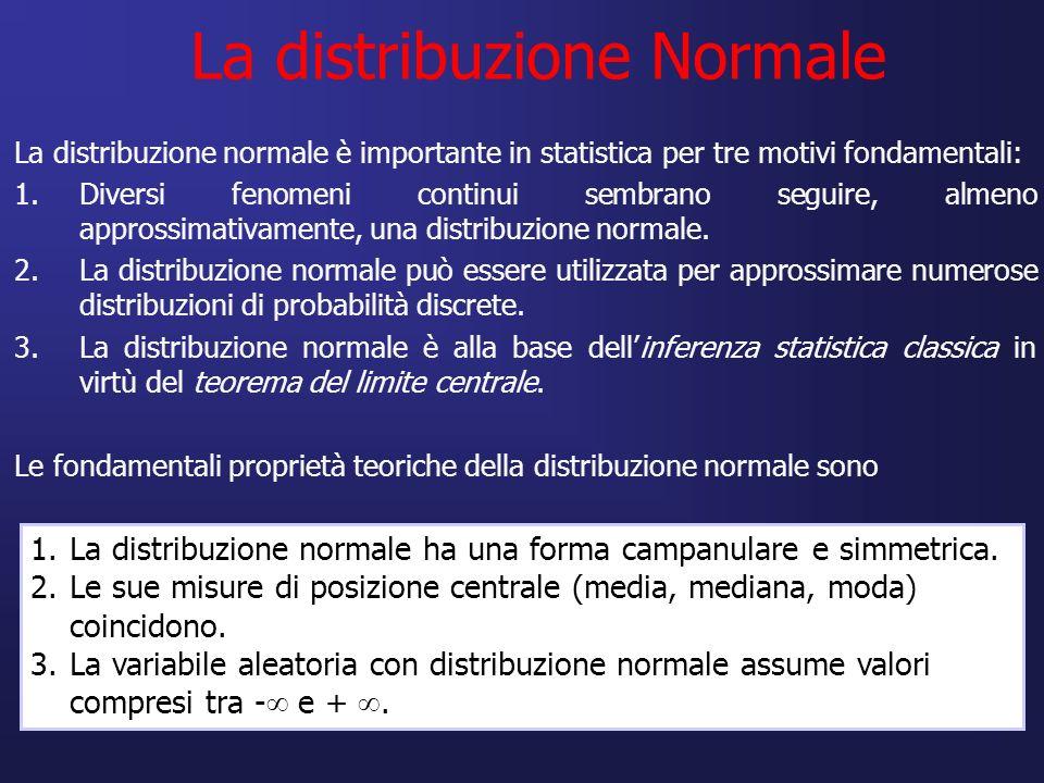 La distribuzione Normale La distribuzione normale è importante in statistica per tre motivi fondamentali: 1.Diversi fenomeni continui sembrano seguire