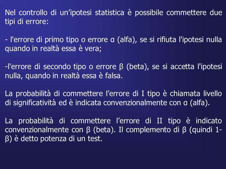 Nel controllo di unipotesi statistica è possibile commettere due tipi di errore: - l'errore di primo tipo o errore α (alfa), se si rifiuta l'ipotesi n