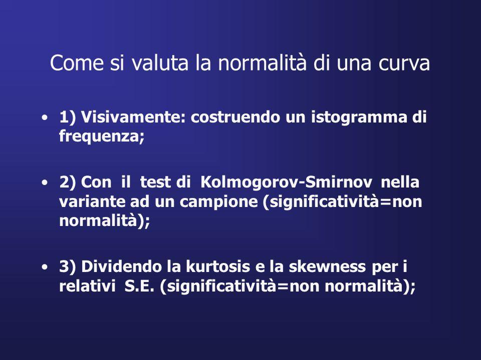 Come si valuta la normalità di una curva 1) Visivamente: costruendo un istogramma di frequenza; 2) Con il test di Kolmogorov-Smirnov nella variante ad