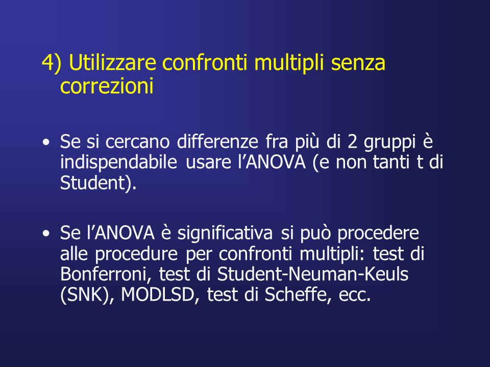 4) Utilizzare confronti multipli senza correzioni Se si cercano differenze fra più di 2 gruppi è indispendabile usare lANOVA (e non tanti t di Student