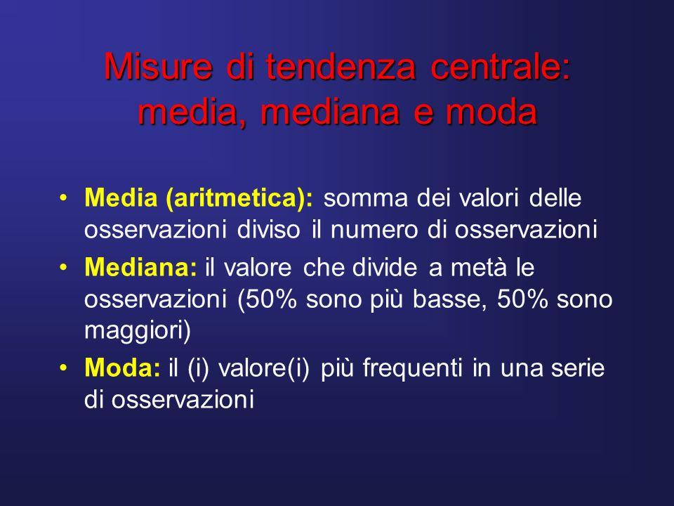 Misure di tendenza centrale: media, mediana e moda Media (aritmetica): somma dei valori delle osservazioni diviso il numero di osservazioni Mediana: i