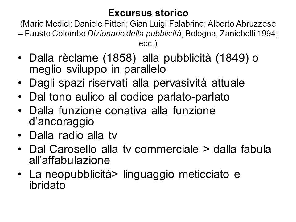 Excursus storico (Mario Medici; Daniele Pitteri; Gian Luigi Falabrino; Alberto Abruzzese – Fausto Colombo Dizionario della pubblicità, Bologna, Zanich