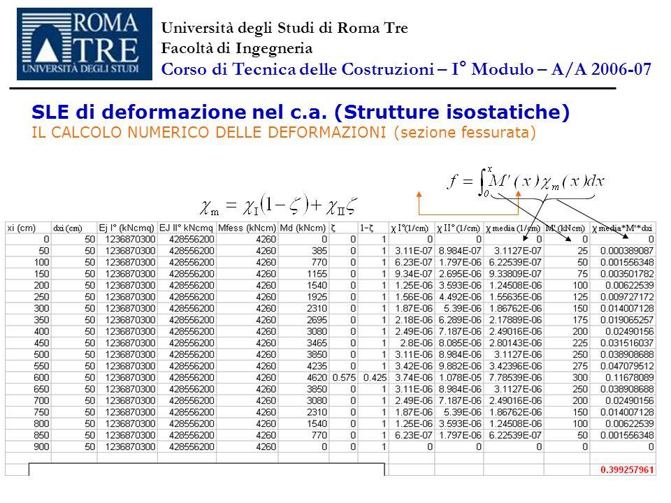 SLE di deformazione nel c.a. (Strutture isostatiche) IL CALCOLO NUMERICO DELLE DEFORMAZIONI (sezione fessurata) Università degli Studi di Roma Tre Fac