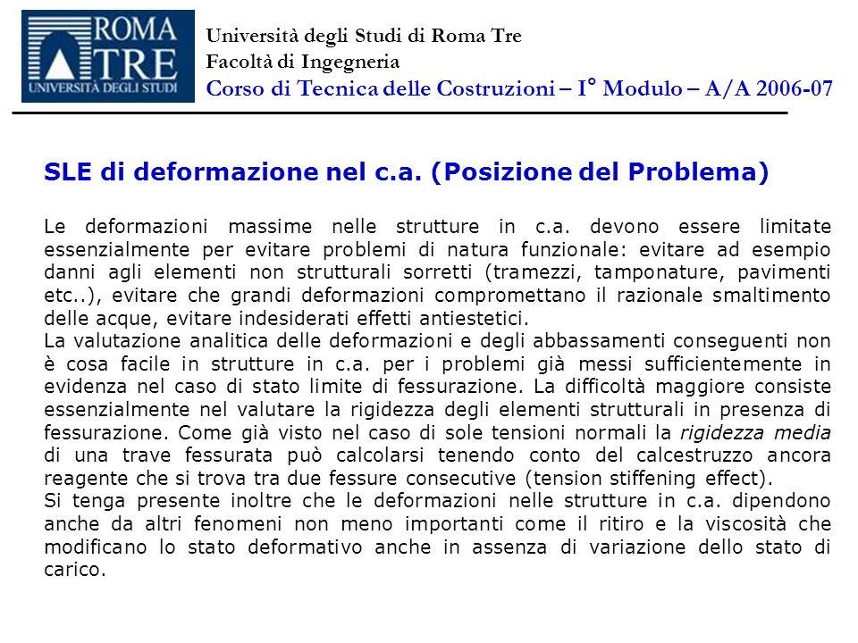 SLE di deformazione nel c.a. (Posizione del Problema) Le deformazioni massime nelle strutture in c.a. devono essere limitate essenzialmente per evitar