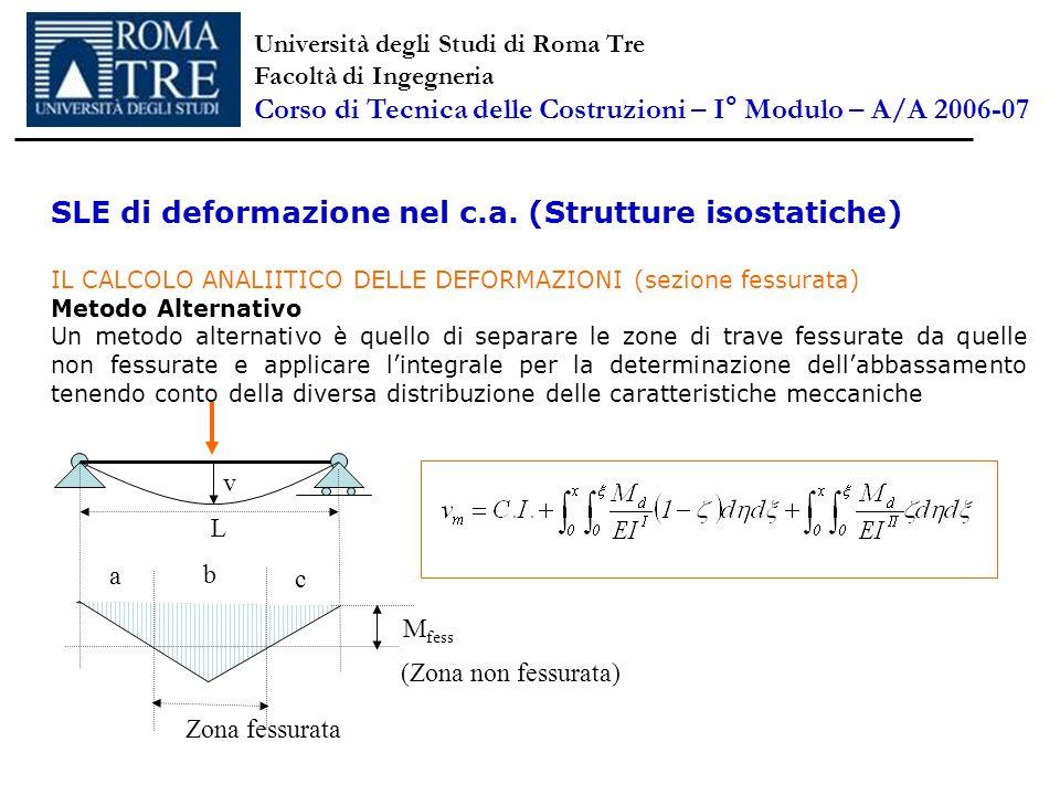 SLE di deformazione nel c.a. (Strutture isostatiche) IL CALCOLO ANALIITICO DELLE DEFORMAZIONI (sezione fessurata) Metodo Alternativo Un metodo alterna