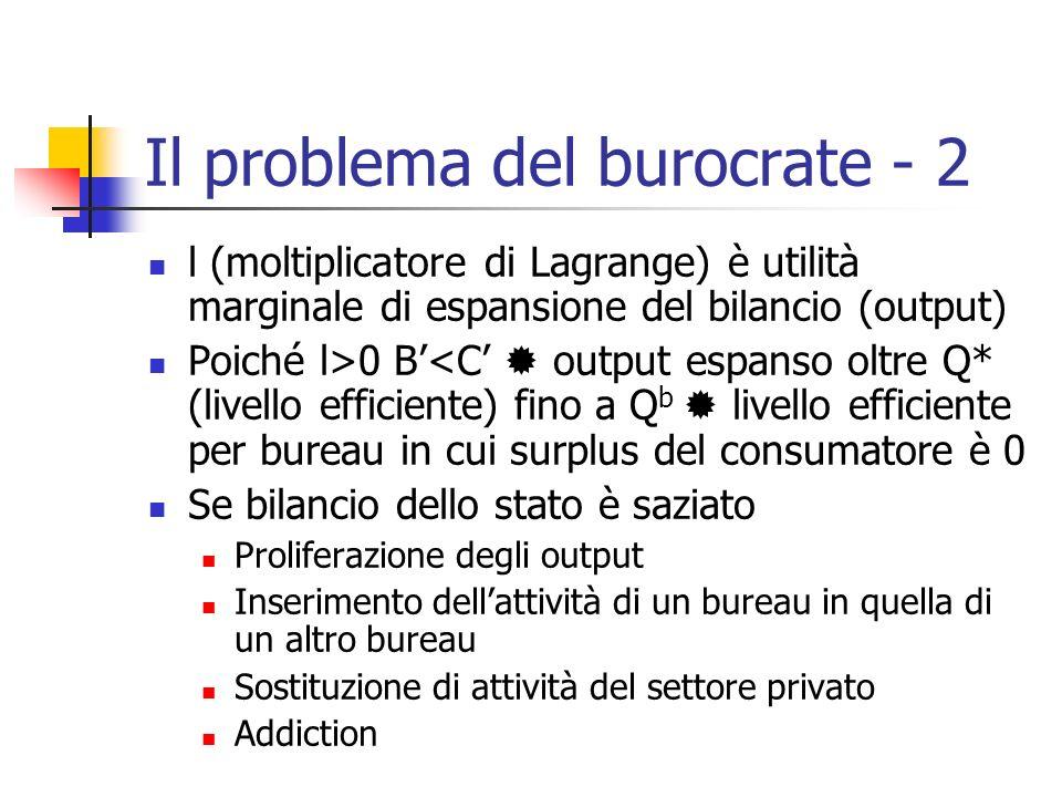 Il problema del burocrate - 2 l (moltiplicatore di Lagrange) è utilità marginale di espansione del bilancio (output) Poiché l>0 B<C output espanso olt