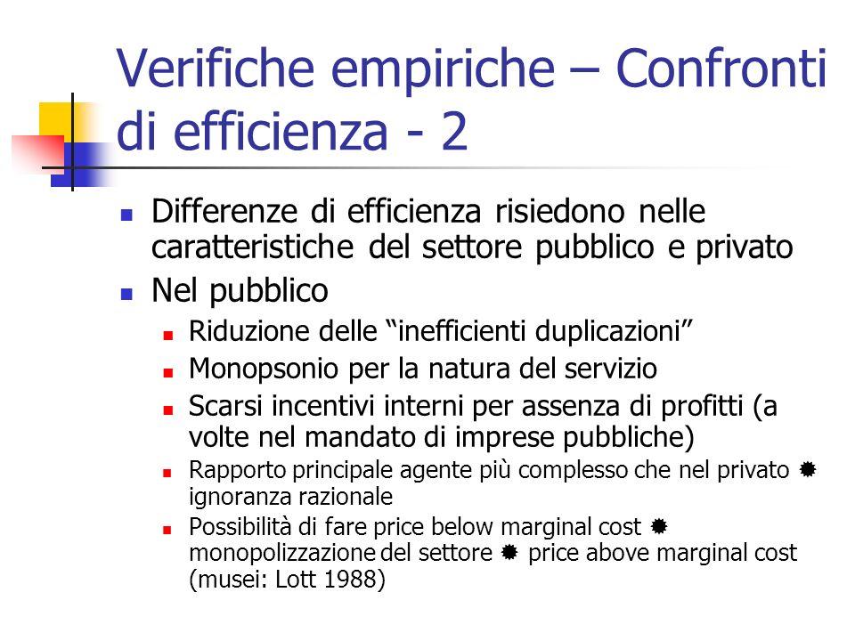 Verifiche empiriche – Confronti di efficienza - 2 Differenze di efficienza risiedono nelle caratteristiche del settore pubblico e privato Nel pubblico
