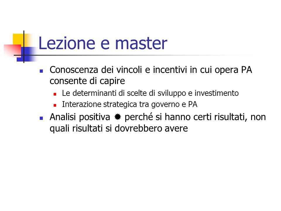 Lezione e master Conoscenza dei vincoli e incentivi in cui opera PA consente di capire Le determinanti di scelte di sviluppo e investimento Interazion