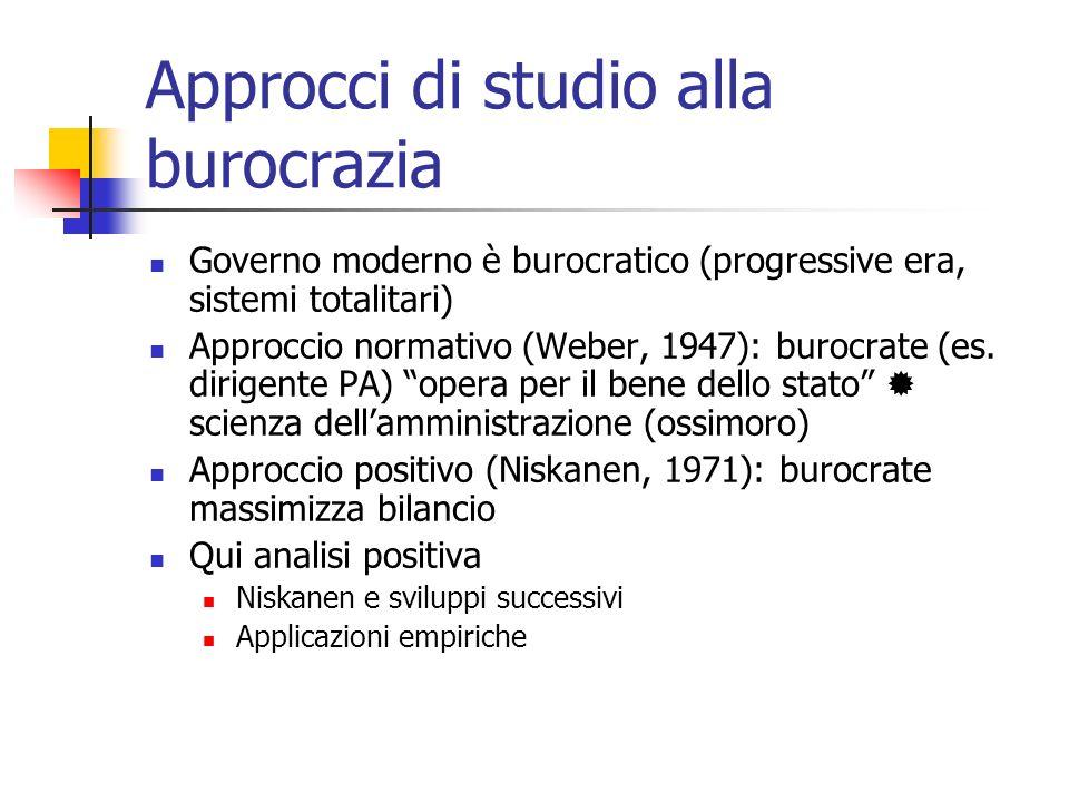Approcci di studio alla burocrazia Governo moderno è burocratico (progressive era, sistemi totalitari) Approccio normativo (Weber, 1947): burocrate (e
