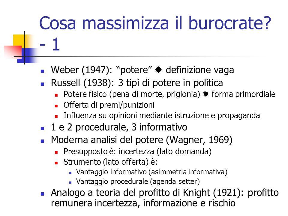 Cosa massimizza il burocrate? - 1 Weber (1947): potere definizione vaga Russell (1938): 3 tipi di potere in politica Potere fisico (pena di morte, pri
