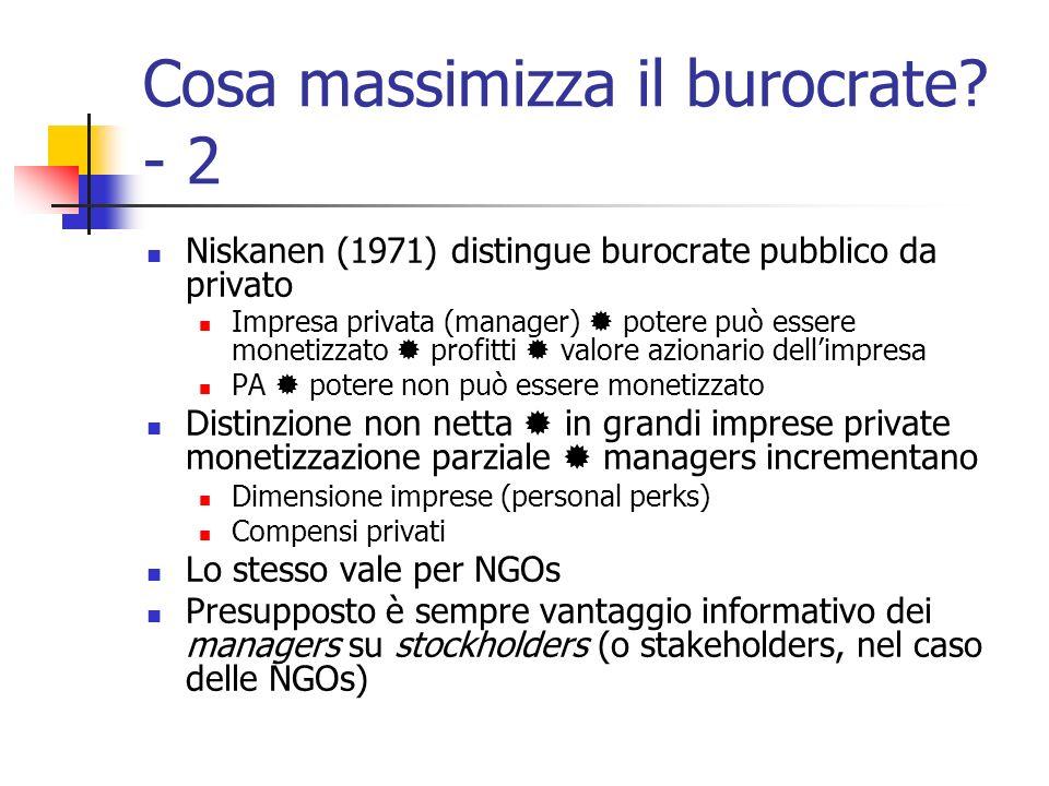 Cosa massimizza il burocrate? - 2 Niskanen (1971) distingue burocrate pubblico da privato Impresa privata (manager) potere può essere monetizzato prof