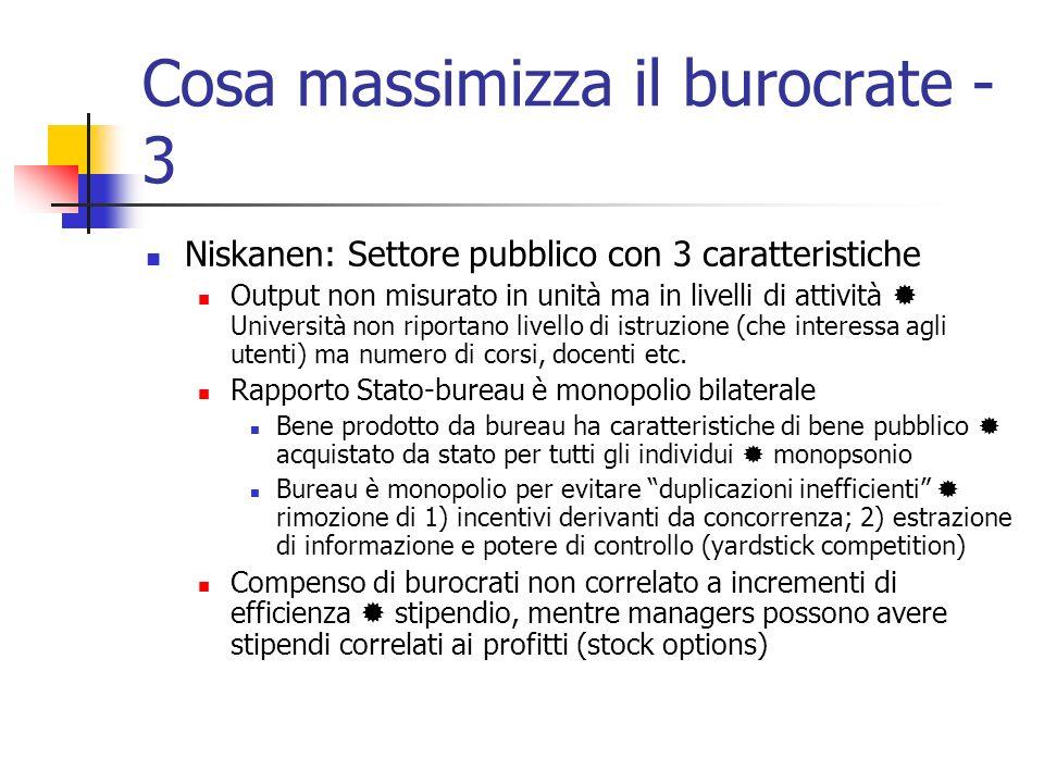 Cosa massimizza il burocrate - 3 Niskanen: Settore pubblico con 3 caratteristiche Output non misurato in unità ma in livelli di attività Università no