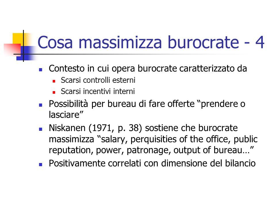 Cosa massimizza burocrate - 4 Contesto in cui opera burocrate caratterizzato da Scarsi controlli esterni Scarsi incentivi interni Possibilità per bure