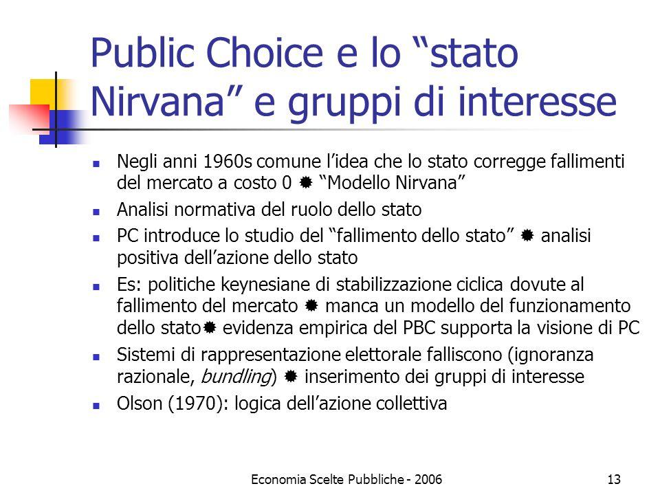 Economia Scelte Pubbliche - 200613 Public Choice e lo stato Nirvana e gruppi di interesse Negli anni 1960s comune lidea che lo stato corregge fallimen