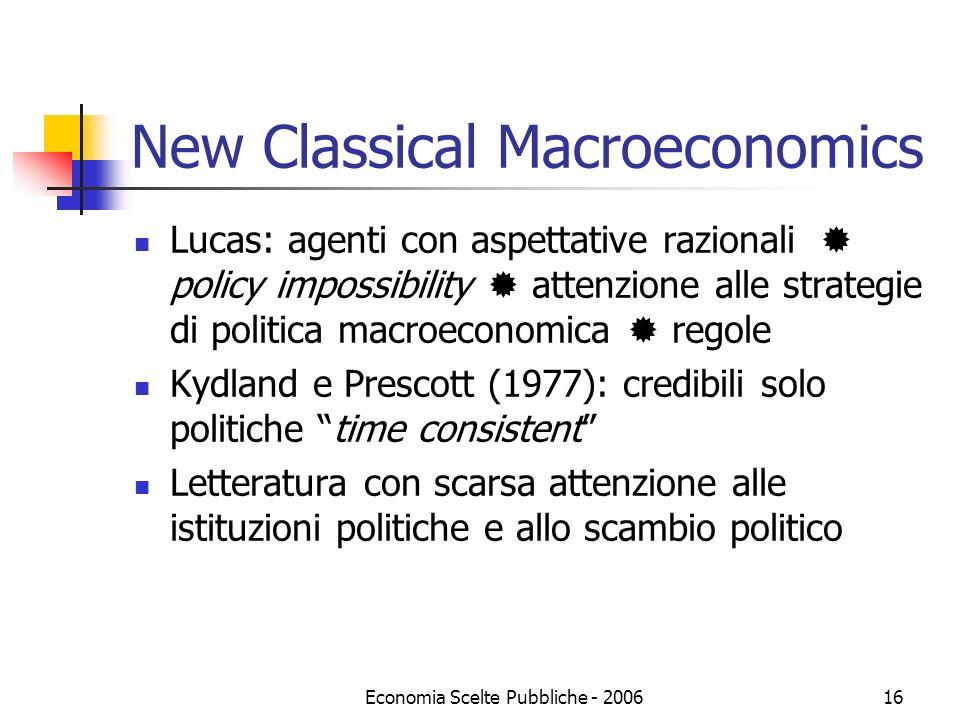 Economia Scelte Pubbliche - 200616 New Classical Macroeconomics Lucas: agenti con aspettative razionali policy impossibility attenzione alle strategie