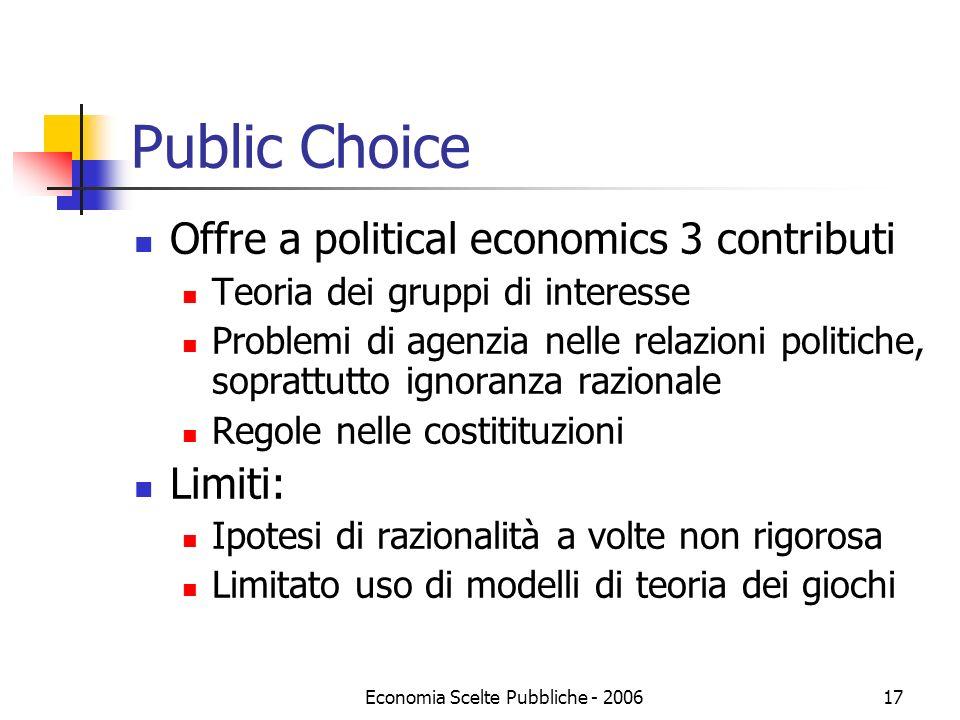 Economia Scelte Pubbliche - 200617 Public Choice Offre a political economics 3 contributi Teoria dei gruppi di interesse Problemi di agenzia nelle rel