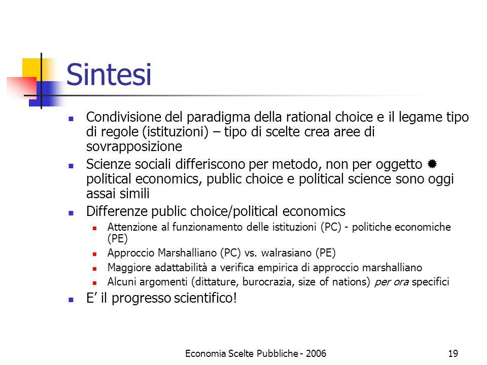 Economia Scelte Pubbliche - 200619 Sintesi Condivisione del paradigma della rational choice e il legame tipo di regole (istituzioni) – tipo di scelte
