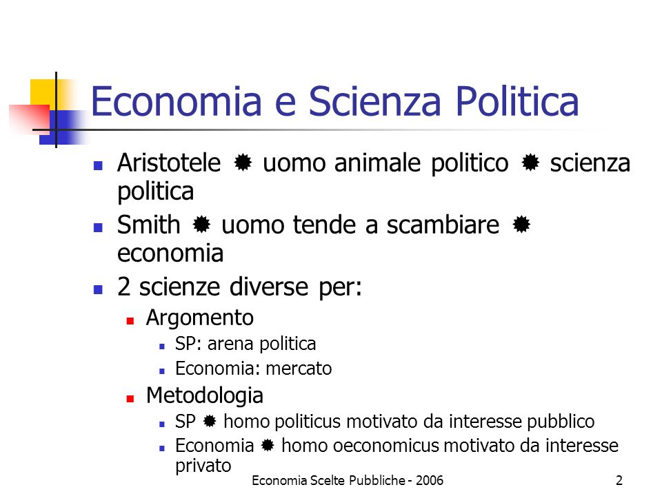 Economia Scelte Pubbliche - 20063 Public Choice Public Choice: studio economico delle decisioni non di mercato (o delle decisioni politiche) Argomenti della SP, metodologia delleconomia (rational choice: principi di ottimizzazione e di equilibrio) Rational choice in filosofia politica (Hobbes, Spinoza, Hume) e scienza politica (Madison, Tocqueville) PC è una scienza: metodo analitico delleconomia
