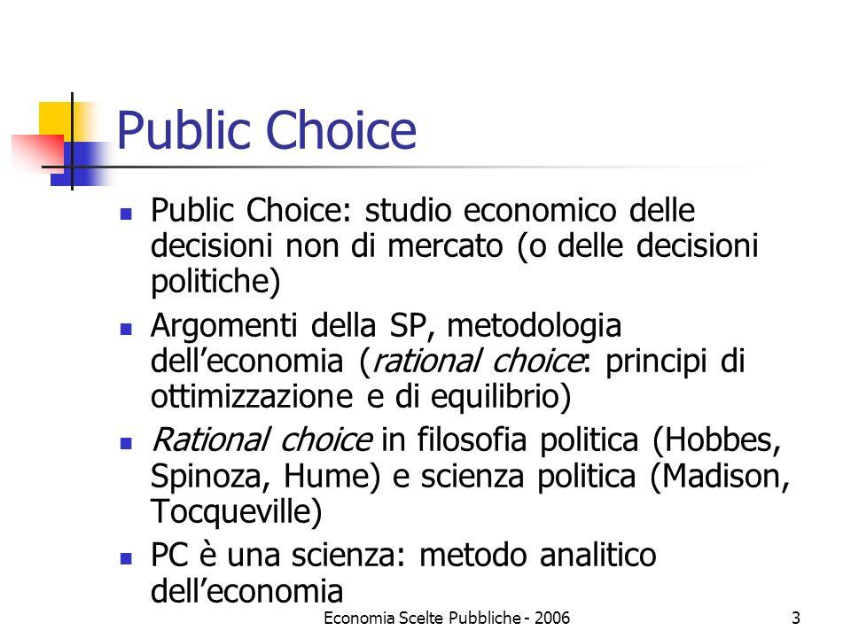 Economia Scelte Pubbliche - 20063 Public Choice Public Choice: studio economico delle decisioni non di mercato (o delle decisioni politiche) Argomenti