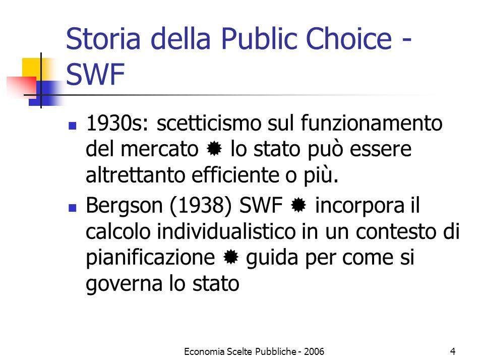 Economia Scelte Pubbliche - 20064 Storia della Public Choice - SWF 1930s: scetticismo sul funzionamento del mercato lo stato può essere altrettanto ef