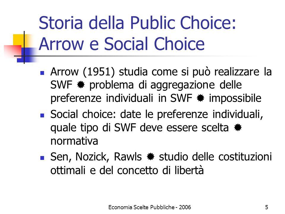 Economia Scelte Pubbliche - 20065 Storia della Public Choice: Arrow e Social Choice Arrow (1951) studia come si può realizzare la SWF problema di aggr