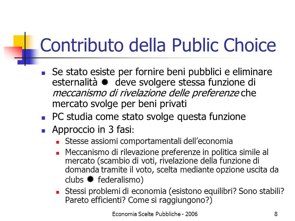 Economia Scelte Pubbliche - 20068 Contributo della Public Choice Se stato esiste per fornire beni pubblici e eliminare esternalità deve svolgere stess