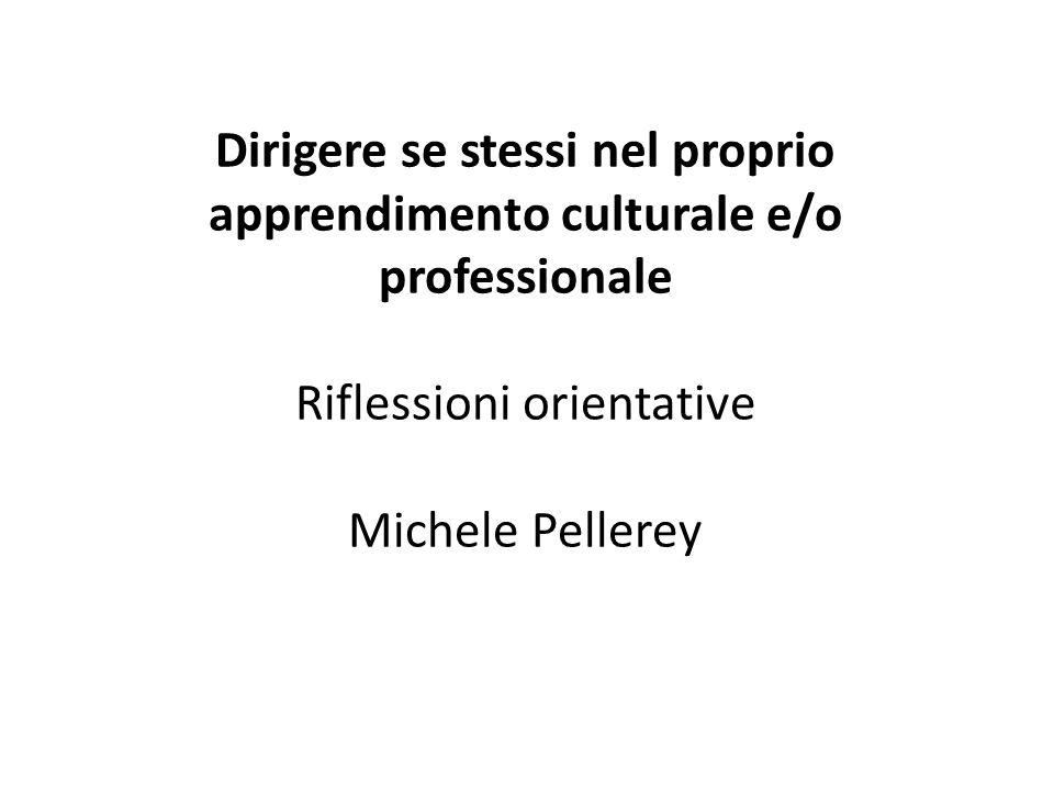 Dirigere se stessi nel proprio apprendimento culturale e/o professionale Riflessioni orientative Michele Pellerey