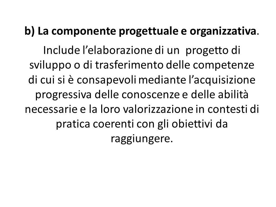 b) La componente progettuale e organizzativa.