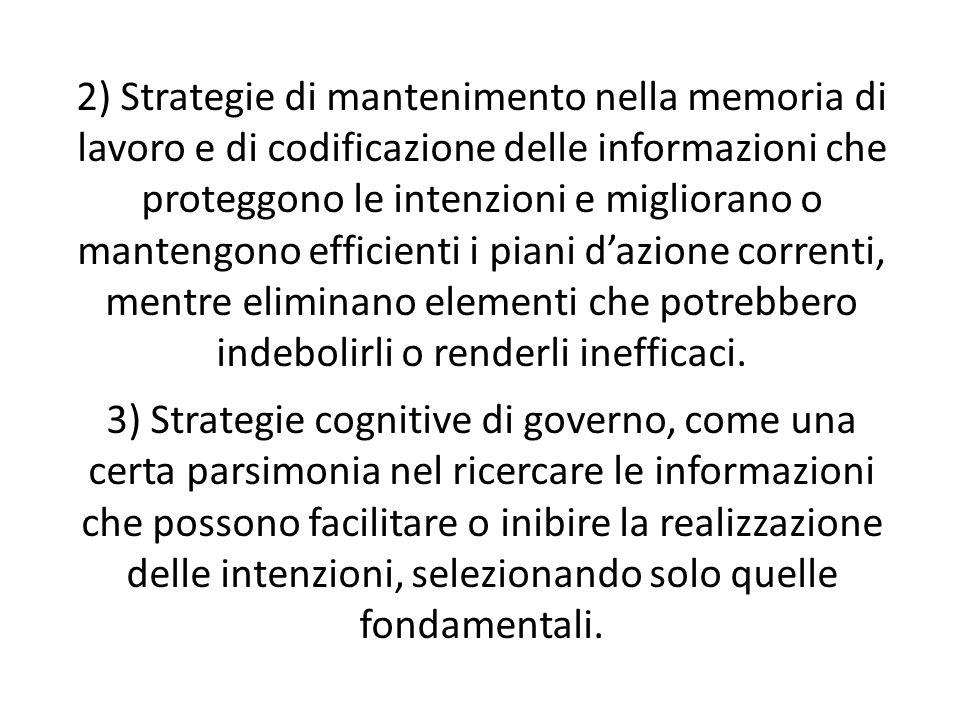 2) Strategie di mantenimento nella memoria di lavoro e di codificazione delle informazioni che proteggono le intenzioni e migliorano o mantengono efficienti i piani dazione correnti, mentre eliminano elementi che potrebbero indebolirli o renderli inefficaci.