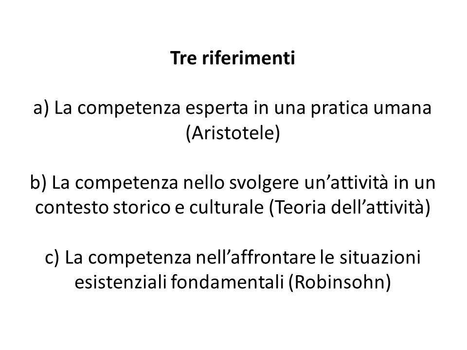 Tre riferimenti a) La competenza esperta in una pratica umana (Aristotele) b) La competenza nello svolgere unattività in un contesto storico e culturale (Teoria dellattività) c) La competenza nellaffrontare le situazioni esistenziali fondamentali (Robinsohn)