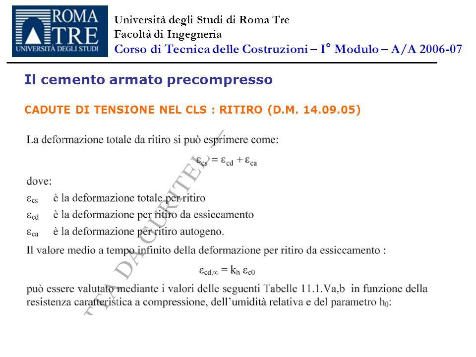 Il cemento armato precompresso CADUTE DI TENSIONE NEL CLS : RITIRO (D.M. 14.09.05) Università degli Studi di Roma Tre Facoltà di Ingegneria Corso di T