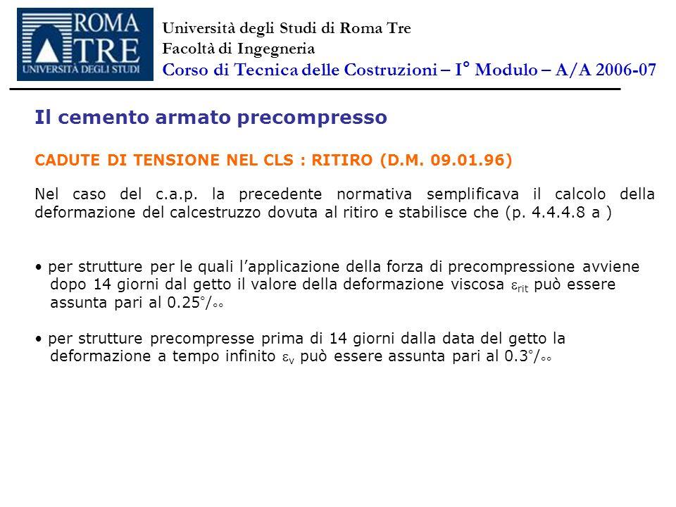 Il cemento armato precompresso CADUTE DI TENSIONE NEL CLS : RITIRO (D.M. 09.01.96) Nel caso del c.a.p. la precedente normativa semplificava il calcolo