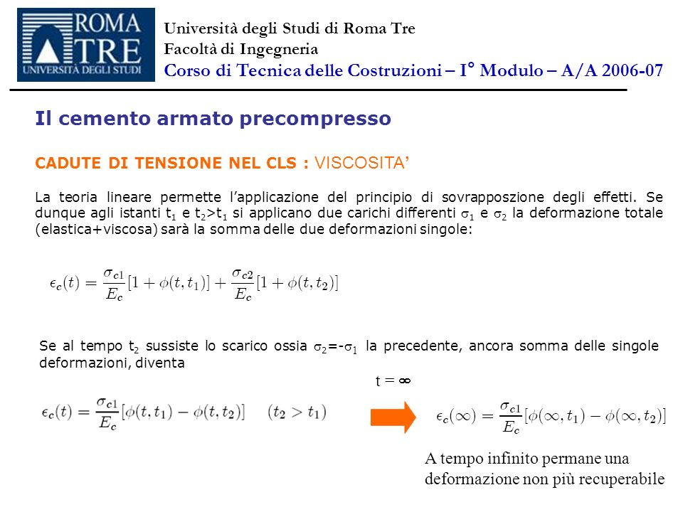 Il cemento armato precompresso CADUTE DI TENSIONE NEL CLS : VISCOSITA La teoria lineare permette lapplicazione del principio di sovrapposzione degli e