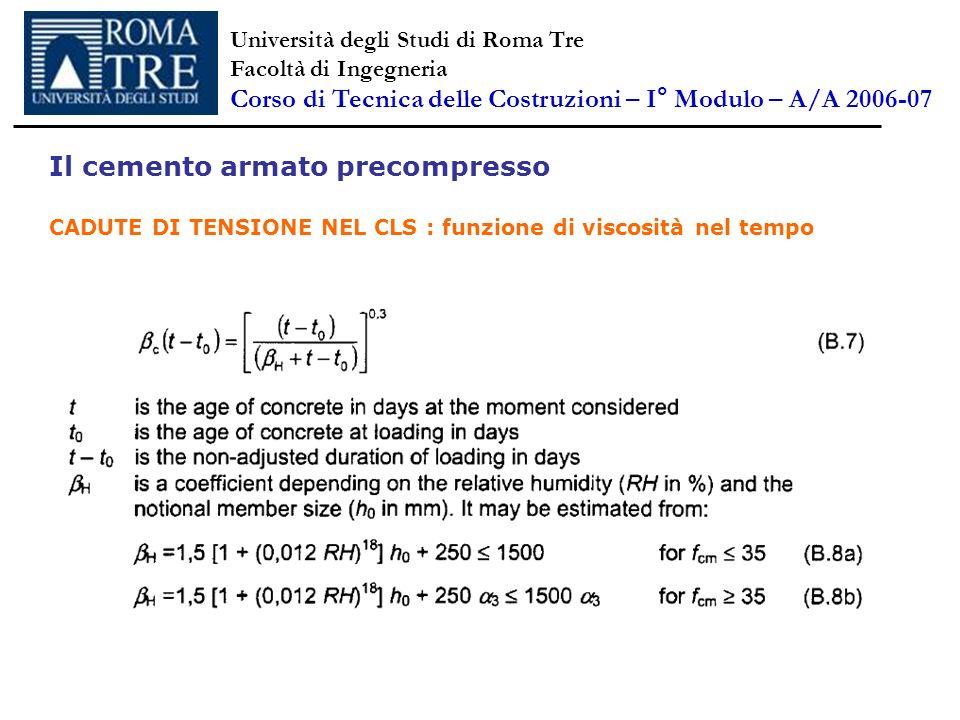 Il cemento armato precompresso CADUTE DI TENSIONE NEL CLS : funzione di viscosità nel tempo Università degli Studi di Roma Tre Facoltà di Ingegneria C